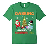 Dabbing Around The Christmas Tree Santa Clause Snowman Ugly T-shirt Forest Green