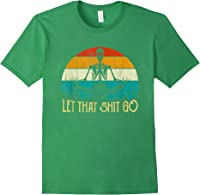 Funny Vintage Out Let That Shit Go Retro Skeleton Yoga T-shirt Forest Green