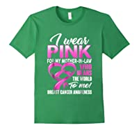 Breast Cancer Awareness Shirt I Wear Pink For Mother In Law Forest Green
