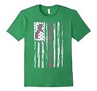 Us Flag Survivor Breast Cancer Awareness Month Pink Ribbon T Shirt Forest Green