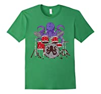 Octopus Drumming Cute Sea Drummer Lover Funny Gift Shirts Forest Green
