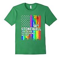 Stonewall Riots 50th Lbgtq Gay Pride American Flag Shirts Forest Green