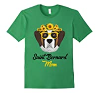 Saint Bernard Mom Shirt Sunflower Dog Lovers Mother S Day Forest Green