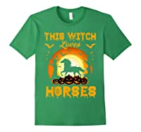This Witch Loves Horses T-shirt Halloween Cosplay Forest Green