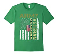 American Flag Camo Proud Us Army Veteran T-shirt Forest Green