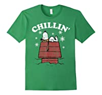 Peanuts Snoopy Holiday Chillin Shirts Forest Green
