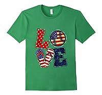 Love Softball Usa Flag 4th Of July Flip Flop Softball Usa Shirts Forest Green