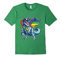 Dinosaur Gay Pride Lgbt Rainbow Flag Lesbian Bisexual T Rex Shirts Forest Green