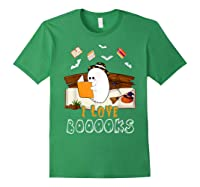 Halloween Day Cute Boo Love Books Tee Funny Librarian Gifts T Shirt Forest Green