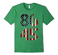 8645 Impeach Trump American Flag T Shirt Forest Green