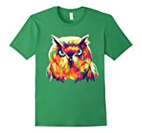 Owl Pop Art Style T Shirt Design Forest Green