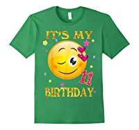 It's My 11th Birthday Girl 11 Years Old Gift Cute Face Shirts Forest Green