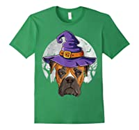 Boxer Witch Hat Funny Halloween Gifts Dog Lover Girls T-shirt Forest Green