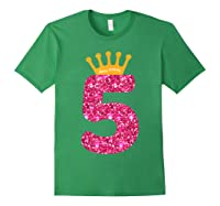 Happy Birthday Shirt, Girls 5th Party 5 Years Old Bday Forest Green