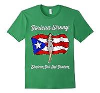 Boricua Strong Shaken But Not Broken Puerto Rican Flag Gift Shirts Forest Green