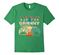 Leveled Up To Granny Vintage Gamer Promoted Shirts Forest Green