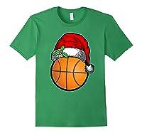 Ball Basketball Santa Hat Christmas Matching Funny Gifts Shirts Forest Green