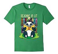 Reading Is Lit Panda Bear Funny English Tea Tee T Shirt Forest Green