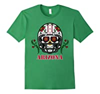 Arizona Football Helmet Sugar Skull Day Of The Dead T Shirt Forest Green