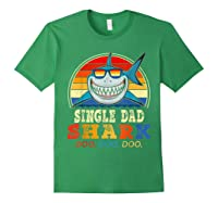 Vintage Single Dad Shark T Shirt Birthday Gifts For Family Forest Green