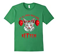 We All Meow Down Here Kitten Halloween Scary Cat T-shirt Forest Green
