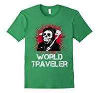 Grim Reaper World Traveler Dark Humor Black Metal Shirts Forest Green