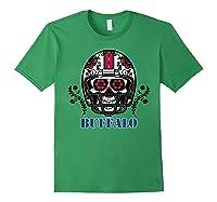 Buffalo Football Helmet Sugar Skull Day Of The Dead T Shirt Forest Green