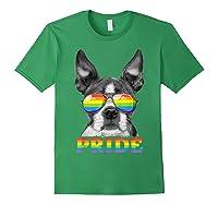 Boston Terrier Gay Pride Lgbt Rainbow Flag Sunglasses Lgbtq T-shirt Forest Green