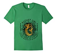 August Girl The Soul Of A Mermaid Tshirt Funny Gifts T Shirt Forest Green
