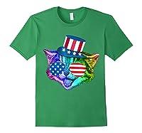 Ally Rainbow Cat Lesbian Gay Pride Gift America Flag Shirts Forest Green