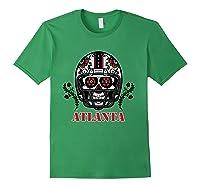 Atlanta Football Helmet Sugar Skull Day Of The Dead T Shirt Forest Green