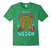 Radical Feminist Witch Pentagram Wiccan Resist Impeach T Shirt Forest Green