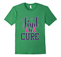 Pink Breast Cancer Awareness Find Cure Ribbon Month T Shirt Forest Green