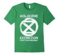 Holocene Mass Extinction Event Symbol Climate Change Science T Shirt Forest Green