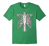 Skeleton Halloween Shirt Breast Cancer Awareness Month Tee Forest Green