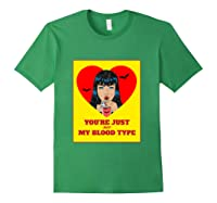 Halloween Bloody Not My Blood Type Vampire Graphic Shirts Forest Green
