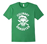 Chef Knife Skull Gangster Culinary Gangster Gift T Shirt Forest Green