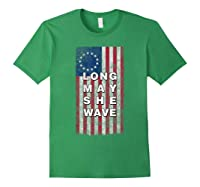 Long May She Wave T Shirt 4th Of July Betsy Ross Usa Flag Forest Green