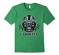 Carolina Football Helmet Sugar Skull Day Of The Dead T Shirt Forest Green