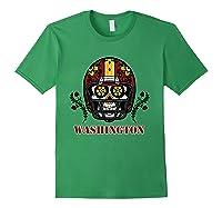 Washington Football Helmet Sugar Skull Day Of The Dead T Shirt Forest Green