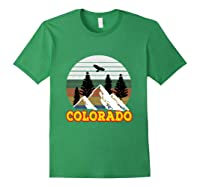 Vintage Outdoor Lovers Colorado Mountains Retro T-shirt Forest Green