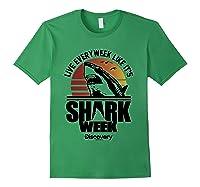 Shark Week Live Every Week Like It's Shark Week Retro T-shirt Forest Green