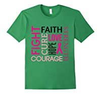 Pink Ribbon Breast Cancer Fighters Survivors Awareness Shirt T Shirt Forest Green