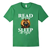 Sleep All Day Read All Night Bookish Read A Book Day Owl T Shirt Forest Green