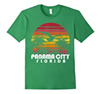 Vintage Retro Pa City Fl Florida Sunset Distressed Style T Shirt Forest Green