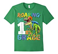 Roaring 1st Grade Dinosaur Back To School Backpack Shirt Boy Forest Green