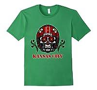 Kansas City Football Helmet Sugar Skull Day Of The Dead T Shirt Forest Green