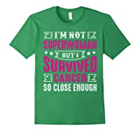 Survived Breast Cancer Awareness Month Pink Ribbon T Shirts Forest Green