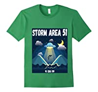 Storm Area 51 Raid Ufo Alien Aliens 92019 Back Print Shirts Forest Green