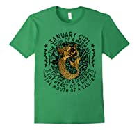 January Girl The Soul Of A Mermaid Tshirt Funny Gifts Forest Green